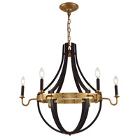 Woodland 6 Light 31 inch Saddle Rust and Golden Iron Chandelier Ceiling Light, Urban Classic