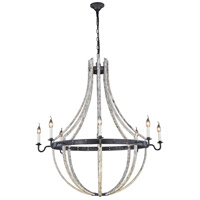 Urban Classic by Elegant Lighting Woodland 8 Light Pendant in Ivory Wash and Steel Grey 1502G43IW