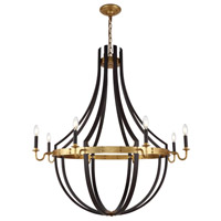 Woodland 8 Light 43 inch Saddle Rust and Golden Iron Chandelier Ceiling Light, Urban Classic