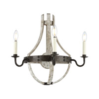 Woodland 3 Light 20 inch Ivory Wash and Steel Grey Wall Sconce Wall Light, Urban Classic
