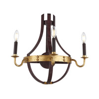 Woodland 3 Light 20 inch Saddle Rust and Golden Iron Wall Sconce Wall Light, Urban Classic