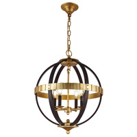 Orbus 4 Light 18 inch Saddle Rust and Golden Iron Pendant Ceiling Light, Urban Classic