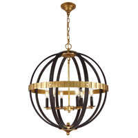 Orbus 6 Light 24 inch Saddle Rust and Golden Iron Chandelier Ceiling Light, Urban Classic