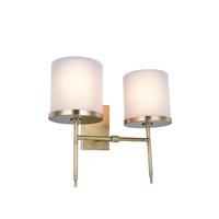 Elegant Lighting 1504W16BB Bradford 2 Light 16 inch Burnished Brass Wall Sconce Wall Light, Urban Classic