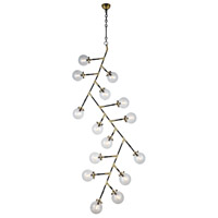 Leda 15 Light 37 inch Burnished Brass and Flat Black Chandelier Ceiling Light, Urban Classic