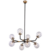 Leda 8 Light 44 inch Burnished Brass and Flat Black Pendant Ceiling Light, Urban Classic