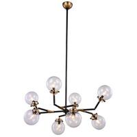 Elegant Lighting 1507G44BB Leda 8 Light 44 inch Burnished Brass and Flat Black Pendant Ceiling Light Urban Classic