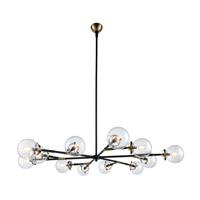 Leda 12 Light 58 inch Burnished Brass and Flat Black Chandelier Ceiling Light, Urban Classic