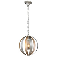 Urban Classic by Elegant Lighting Serenity 1 Light Pendant in Vintage Silver Leaf 1508D15SL