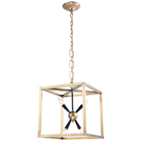 Elegant Lighting 1510D16BB Lexy 4 Light 16 inch Burnished Brass and Flat Black Pendant Ceiling Light, Urban Classic