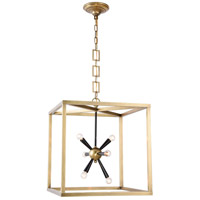 Elegant Lighting 1510D20BB Lexy 6 Light 20 inch Burnished Brass and Flat Black Pendant Ceiling Light, Urban Classic