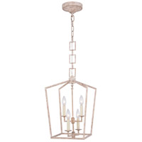 Elegant Lighting 1512D12IW Denmark 4 Light 12 inch Ivory Wash Pendant Ceiling Light, Urban Classic