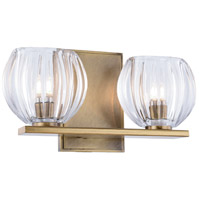 Monticello 2 Light 11 inch Light Antique Brass Vanity Wall Light, Urban Classic, Clear Glass