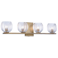 Monticello 4 Light 25 inch Light Antique Brass Vanity Wall Light, Urban Classic, Clear Glass