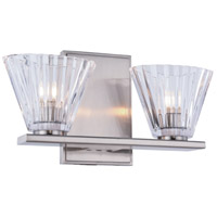 Oslo 2 Light 12 inch Burnished Nickel Vanity Wall Light, Urban Classic, Clear Glass