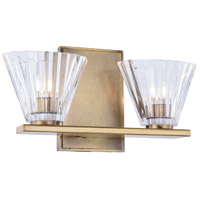 Oslo 2 Light 12 inch Light Antique Brass Vanity Wall Light, Urban Classic, Clear Glass