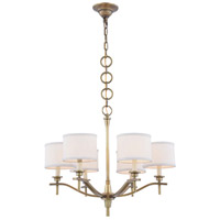 Segovia 6 Light 25 inch Burnished Brass Chandelier Ceiling Light, Urban Classic, Off-White Linen