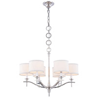 Segovia 6 Light 25 inch Polished Nickel Chandelier Ceiling Light, Urban Classic, Off-White Linen