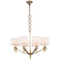 Segovia 8 Light 28 inch Burnished Brass Chandelier Ceiling Light, Urban Classic, Off-White Linen