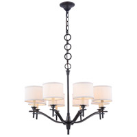 Segovia 8 Light 28 inch Bronze Chandelier Ceiling Light, Urban Classic, Off-White Linen
