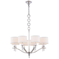 Segovia 8 Light 28 inch Polished Nickel Chandelier Ceiling Light, Urban Classic, Off-White Linen