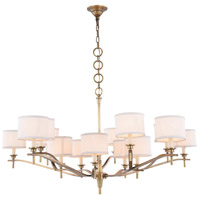 Segovia 15 Light 52 inch Burnished Brass Chandelier Ceiling Light, Urban Classic, Off-White Linen