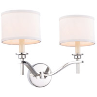 Segovia 2 Light 17 inch Polished Nickel Vanity Wall Light, Urban Classic, Off-White Linen