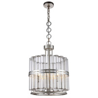Piper 3 Light 18 inch Antique Silver Leaf Pendant Ceiling Light, Urban Classic