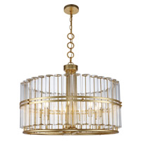 Piper 9 Light 32 inch Antique Gold Leaf Chandelier Ceiling Light, Urban Classic