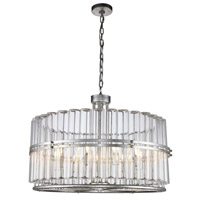 Elegant Lighting 1528D32ASL Piper 9 Light 32 inch Antique Silver Leaf Chandelier Ceiling Light Urban Classic
