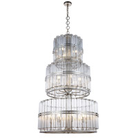 Elegant Lighting 1528G33ASL Piper 18 Light 32 inch Antique Silver Leaf Chandelier Ceiling Light, Urban Classic
