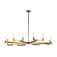 Corsica 16 Light 72 inch Burnished Brass Chandelier Ceiling Light, Urban Classic