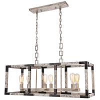 Elegant Lighting 1536D40IW Worthington 6 Light 14 inch Ivory Wash and Steel Grey Chandelier Ceiling Light Urban Classic