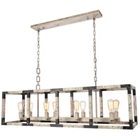 Elegant Lighting 1536D53IW Worthington 8 Light 14 inch Ivory Wash and Steel Grey Chandelier Ceiling Light, Urban Classic
