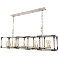 Elegant Lighting 1536G66IW Worthington 10 Light 14 inch Ivory Wash and Steel Grey Chandelier Ceiling Light, Urban Classic