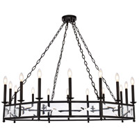 Elegant Lighting 1538D37VB Exeter 12 Light 20 inch Vintage Bronze Chandelier Ceiling Light Urban Classic