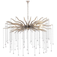 Elegant Lighting 1539G48DAS Willow 8 Light 48 inch Drizzled Antique Sliver Chandelier Ceiling Light, Urban Classic