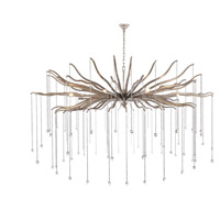 Elegant Lighting 1539G60DAS Willow 8 Light 60 inch Drizzled Antique Sliver Chandelier Ceiling Light, Urban Classic