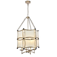 Elegant Lighting 1541D23ASL White Sails 4 Light 23 inch Antique Sliver Leaf and Flat Black Chandelier Ceiling Light Urban Classic