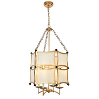 Elegant Lighting 1541D23GI White Sails 4 Light 23 inch Golden Iron and Flat Black Chandelier Ceiling Light Urban Classic