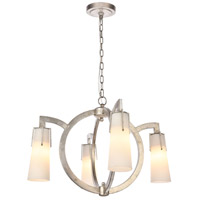 Harlow Nights 4 Light 28 inch Antique Silver Leaf Chandelier Ceiling Light, Urban Classic