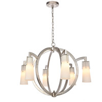 Elegant Lighting 1542D36ASL Harlow Nights 6 Light 36 inch Antique Silver Leaf Chandelier Ceiling Light Urban Classic