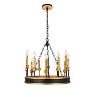 Elegant Lighting 1543D25VBGI Neva 12 Light 25 inch Vintage Bronze and Golden Iron Chandelier Ceiling Light, Urban Classic