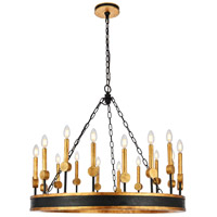 Elegant Lighting 1543D35VBGI Neva 18 Light 35 inch Vintage Bronze and Golden Iron Chandelier Ceiling Light Urban Classic