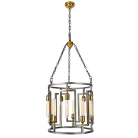 Elegant Lighting 1544D18VN Fontana 10 Light 18 inch Vintage Nickel and Electroplated Brass Chandelier Ceiling Light, Urban Classic