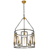 Elegant Lighting 1544D24VN Fontana 12 Light 24 inch Vintage Nickel and Electroplated Brass Chandelier Ceiling Light, Urban Classic
