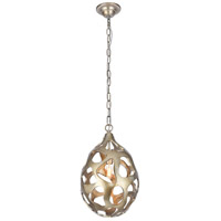 Elegant Lighting 1545D10GS Bombay 1 Light 10 inch Gilded Silver Chandelier Ceiling Light, Urban Classic