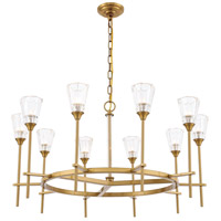 Elegant Lighting 1552D36BB Soiree 10 Light 36 inch Burnished Brass Pendant Ceiling Light Urban Classic