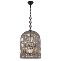 Elegant Lighting 1701D16RDB Capistrano 6 Light 16 inch Rustic Dark Bronze Pendant Ceiling Light Urban Classic