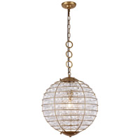 Bellagio 1 Light 18 inch Antique Gold Leaf Pendant Ceiling Light, Urban Classic
